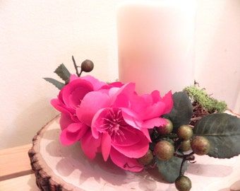 Magenta candle ring, bright candle ring, candle wreath, candle holder, candle ring