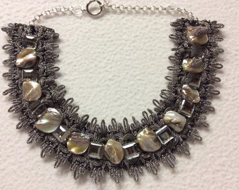 Braid necklace with silver square beads