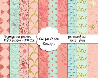 10 textured digital papers with foil and giltter effects
