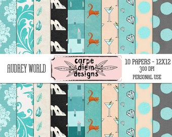 Audrey World Digital Scrapbooking Textured Papers - 10 papers - 300 DPI
