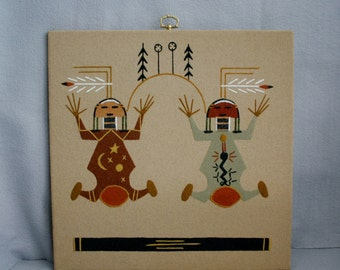 Vintage Signed Navajo Sand Painting