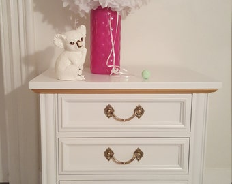 Vintage,Widdecome,Louis style,chest of drawers, painted white gloss and gold, hand painted furniture from NJ, made with love