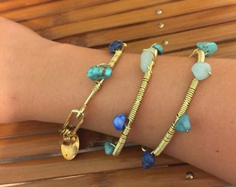 Gold bracelet with blue stones personalized
