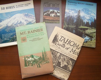 Lot of Vintage books and maps of Mount Rainier National Park