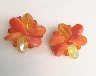 Yellow Orange and Tangerine Beaded Cluster Earrings