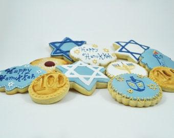 Assorted Happy Hanukkah Set Decorated Sugar Cookies - 1 Dozen - Star of David - candle - menorah - Dreidel Game - Sufganiyah - Hanukkah gelt