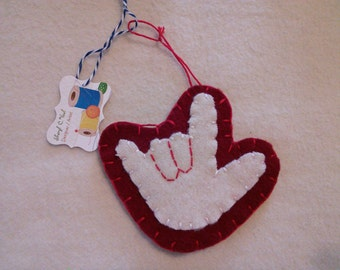 Christmas ornament I love you w/red trim