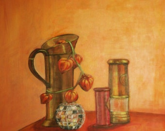 """PAINTING, still life, """"The brass"""", acrylic on canvas"""