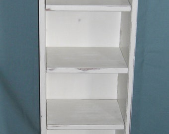CD / DVD / video tower / narrow bookcase in old white, shabby chic distressed