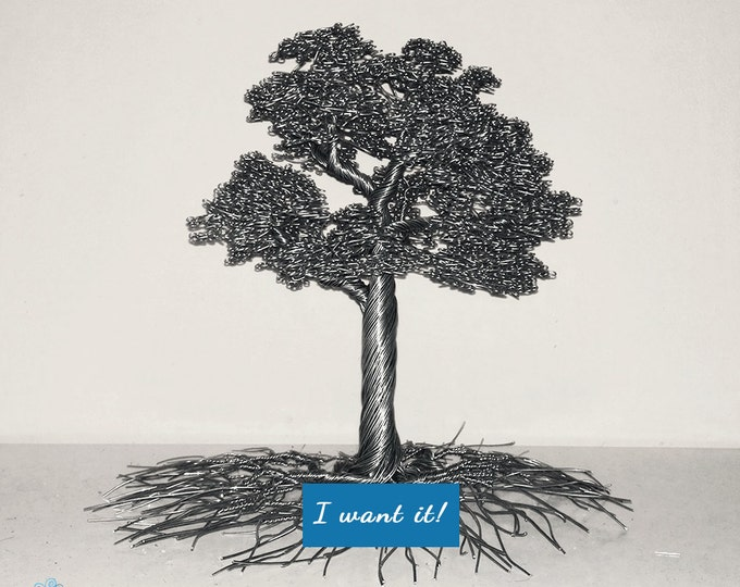 Standing wire tree made from aluminium with leaves home decoration