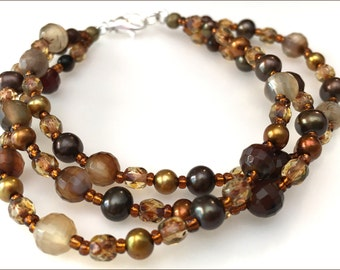 Agate and Pearl Bracelet