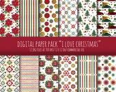 "Digital Paper Pack  ""I Love Christmas"". Instant Download. Digital Gold Christmas Background."