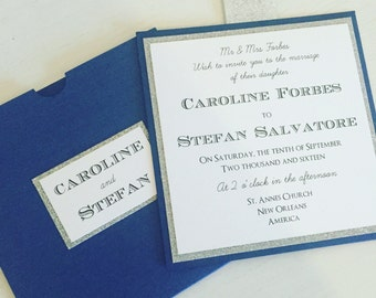 the caroline stefan wallet glitter wedding invitation royal blue wedding invites
