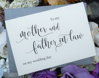 To My MOTHER and FATHER In Law Card Mother in Law Card, Mother in Law Gift, Father in Law Card, Father in Law Gift, To My Mother Card,