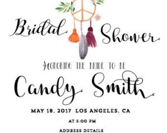 Personalized BridalShower Invitation, BRIDAL SHOWER Invitation Instant Download, Boho Bridal Shower Diy Printable