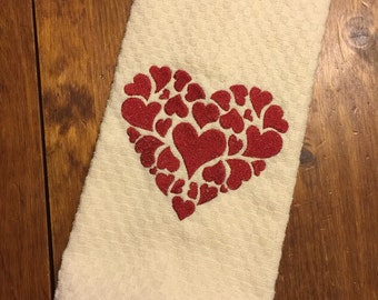 Valentine's Decorative Dishtowel with Hearts