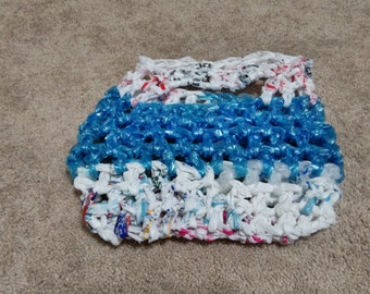 Blue and White Plarn Bag