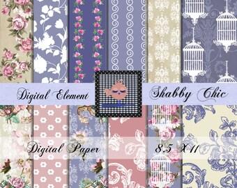 Shabby Digital Paper, Digital Scrapbook Paper, Floral Shabby Chic Damask Paper, Cottage Rose Digital Scrapbook Paper. No. P124.DA