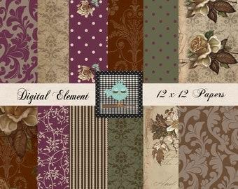 Digital Scrapbook Paper, Digital Paper, Vintage Scrapbook Paper, Shabby Rose Paper, Printable Scrapbook Digital Paper. No. V.7.07