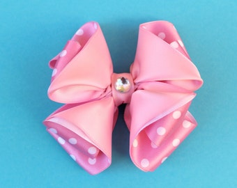 SALE, Pink Hair Bow, Polka dot Hairbow, Pink Hair Clip, Satin Hair Bow, Pink Satin Hairbow,