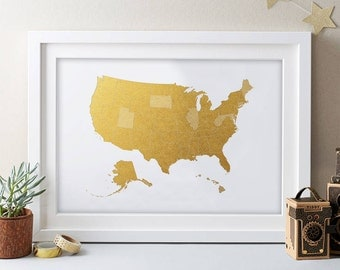 USA Map Gold Art Print USA Map Print United States of America Wall Art USA Digital Print Poster Home Decor - Instant Download