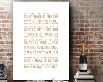 The Beatles Hey Jude Inspired Lyrics Love Song Wall Art Song Lyrics Home Decor Anniversary Wedding Gift Typography Lyric PRINT
