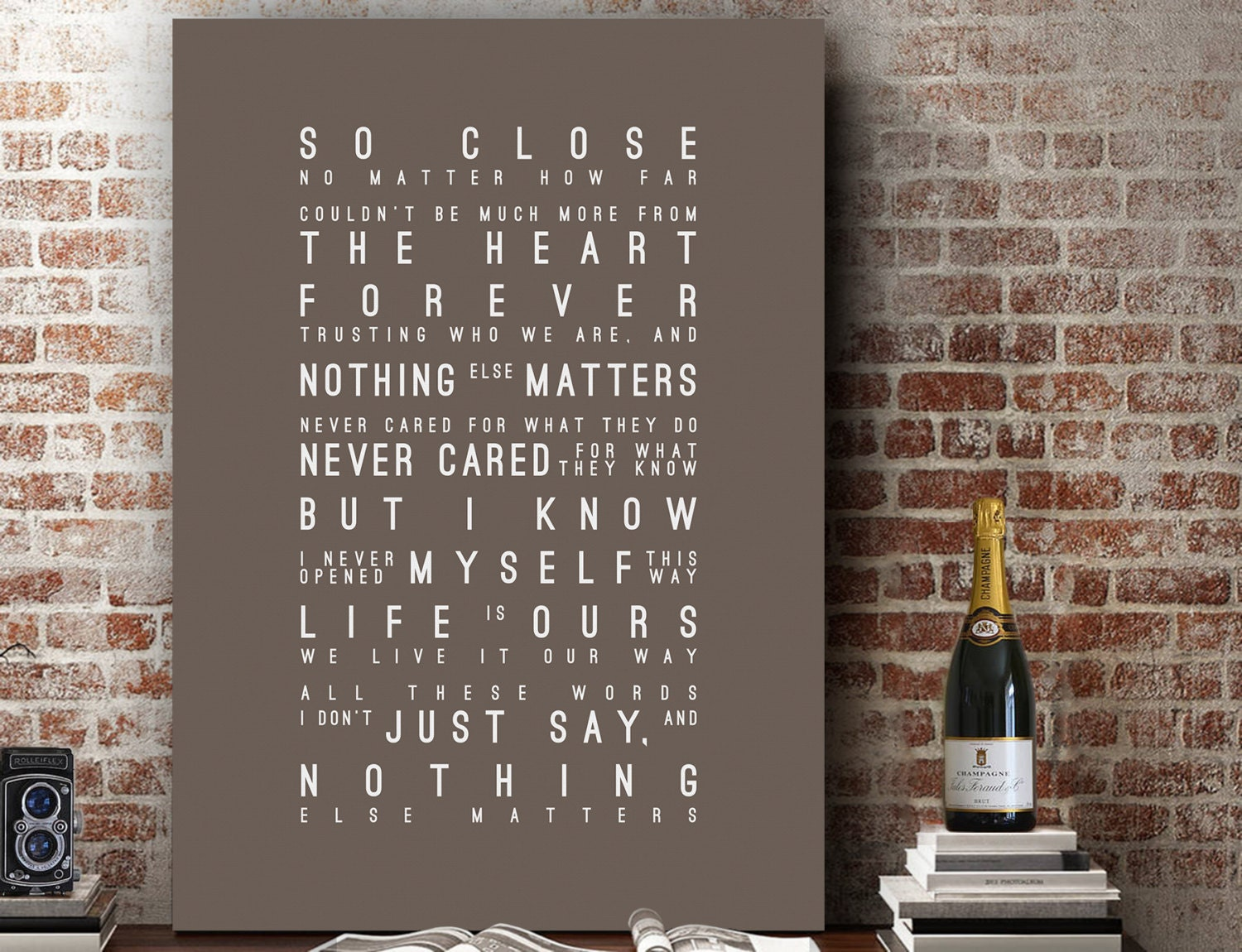 Metallica nothing else matters inspired lyrics love song wall for Decor matters