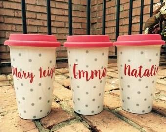 Ceramic coffee travel mug/coffee mug/personalized coffee mug/ceramic mug/coffee traveler