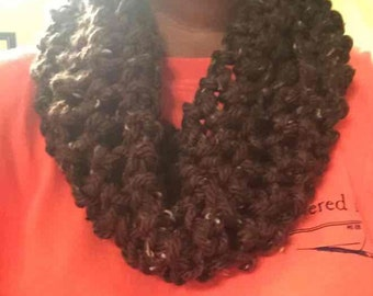 Handmade brown infinity scarf