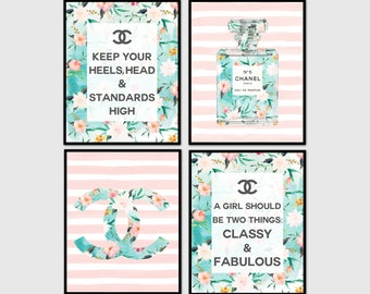 Chanel, Coco Chanel print set, set of 4 prints, Chanel print, fashion print, Chanel poster, Printable art, perfume, Classy and fabulous