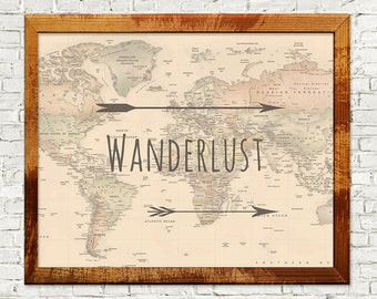 50% OFF Wanderlust, travel poster, world map, arrows, adventure, instant download, home decor, wall art, printable art, downloadable poster
