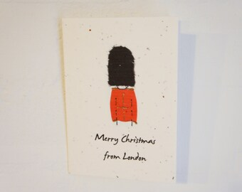 London Soldier Christmas Plantable Card