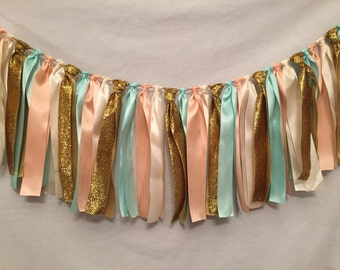 Fabric Garland/Ribbon Banner/Country Wedding Decor/Mint Wedding Decor/Prairie Wedding Decor/Peach Wedding Decor/Ribbon Strip Garland
