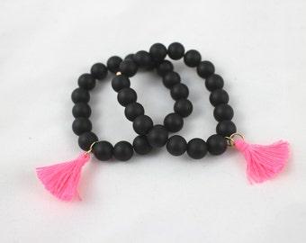 Colored Tassel Onyx Bracelet