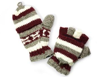 Wool Convertible Mittens, Texting Gloves, Hand Knit Glittens - Merlot Striped - 1465R