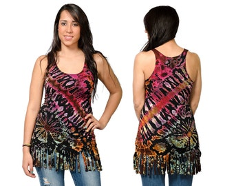 Tie Dye Fringed Tank Top - Mega Multi - 3104K