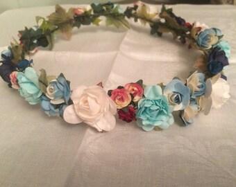 Flower crown, multicolor rose headpiece