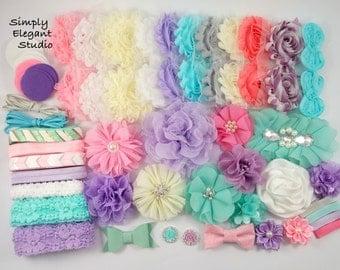 ON SALE! Purple and Aqua Headband Supply Kit, Baby Shower Headband Kit, Infant Headband Kit, DIY Headband, Kit #305