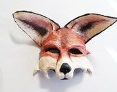 Fox Mask, woodland creature, reddish brown and white, wearable, forest creature, wearable, costume