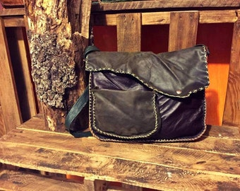 Leather Messenger Bag, Green and Brown