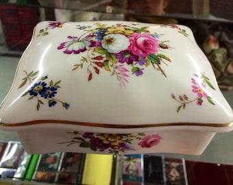 British White Bone China Jewelry Box with Flowers