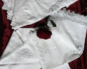 Vintage cotton tablecloths, embroidery, crochet work x 4 Project