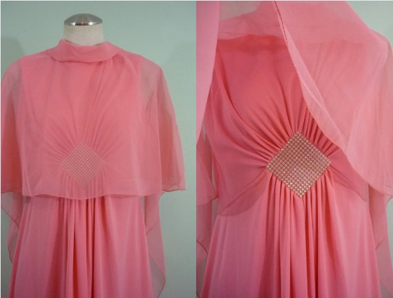 1960s Coral Chiffon Evening Gown with Capelet / Caped Maxi Dress / Modern Size Medium M, 8-10