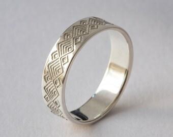Mens Wedding Ring, Mens Wedding Band, Mens Gold Ring, Mens Gold Band, Wedding Ring Mens, Geometric Ring, White Gold Mens, Men White Gold