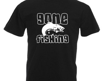Gone Fishing Fisherman Gift Adults Mens Black T Shirt Sizes From Small - 3XL