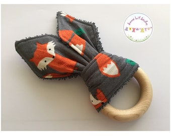 Eco Friendly Teether Wooden Teething Ring with Handmade Bunny Ears - Foxes with Grey Back