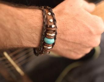 Man Leather Bracelet // Man Bracelet // Male Bracelet // Man Leather Cuff // Leather Wristband // Johnny Depp Bracelet