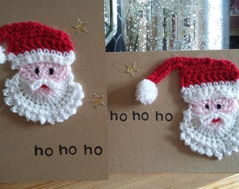 Christmas card, handmade, crocheted, knitted, Santa Claus