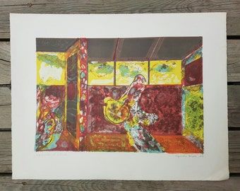 "Lithograph original ""Untitled"" signed by Guido Biasi 1965 vintage"