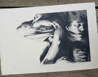 """Lithograph after the work """"The embrace"""" Studio Bellini vintage"""